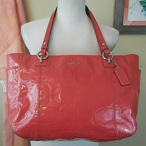 Coach Gallery Large Pink Patent Leather Tote